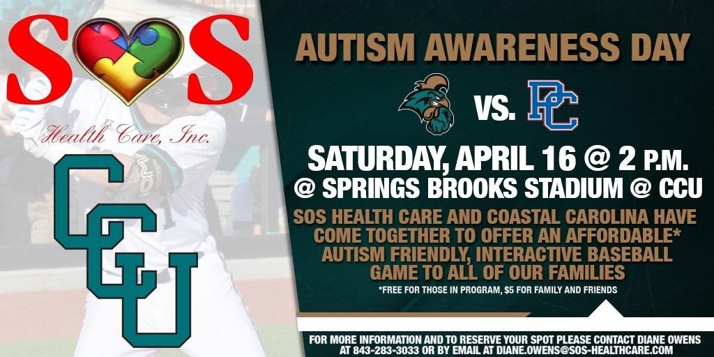 Autism Awareness Day Baseball Game at CCU